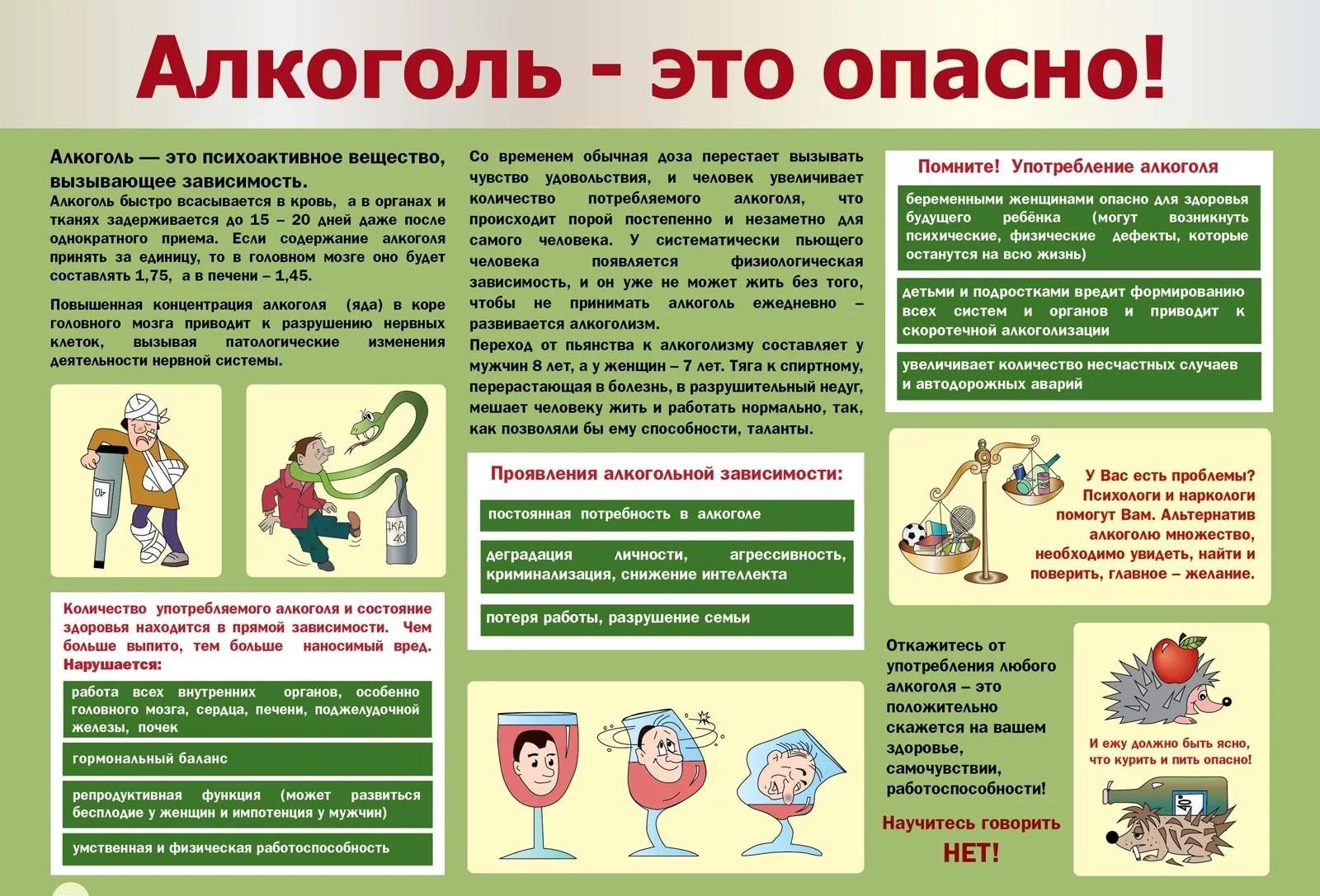 Памятка о вреде алкоголя в картинках